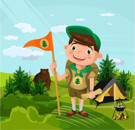 Summer camp with boy. Vector flat cartoon illustration Illustration