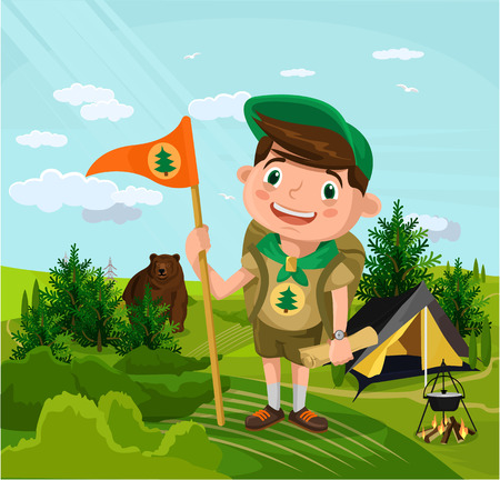Summer camp with boy. Vector flat cartoon illustration Illustration