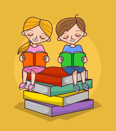 reading materials: Children are reading books. Vector flat cartoon illustration Illustration