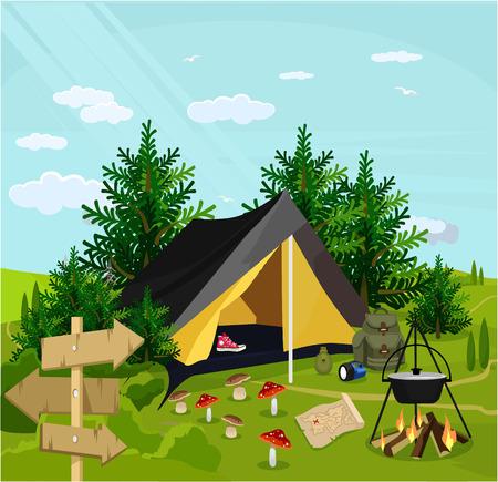 campsite: Vector camp flat cartoon illustration
