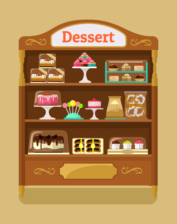 Store sweets. Vector flat illustration Stock Illustratie