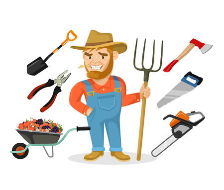 coverall: Vector farmer flat cartoon illustration