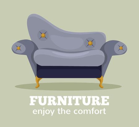 Vector sofa flat cartoon illustration
