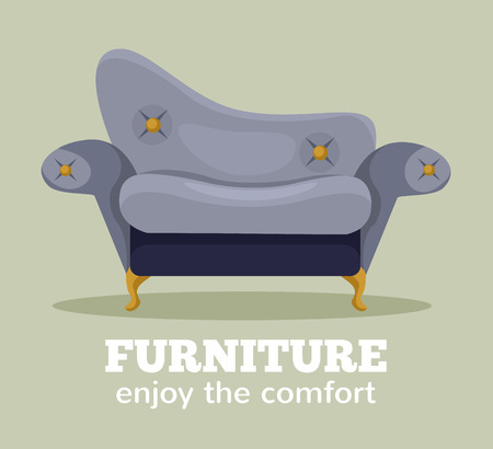 modern furniture: Vector sofa flat cartoon illustration