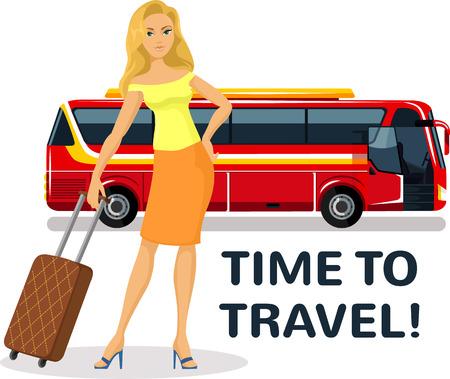 valigia: Donna con trolley da viaggio in piedi alla fermata dell'autobus.