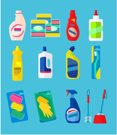 utiles de aseo personal: Productos de limpieza Vector iconos planos establecidos