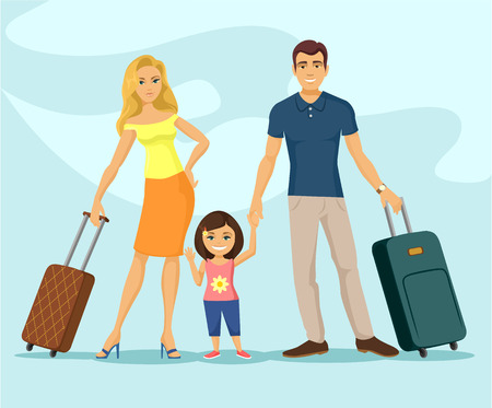 travelling: Family travel. Vector flat cartoon illustration
