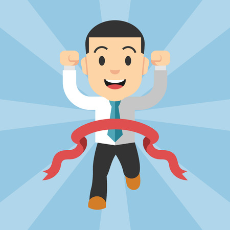 happy employees: Businessman running at the finish line. Vector flat illustration
