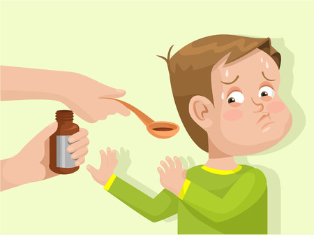 sars: Child does not want to drink the medicine. Vector flat illustration Illustration