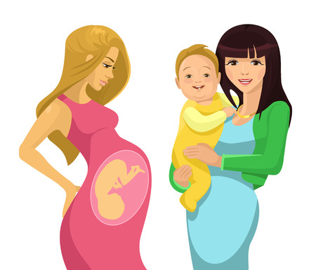 abdomen women: Young mother. Vector flat illustration