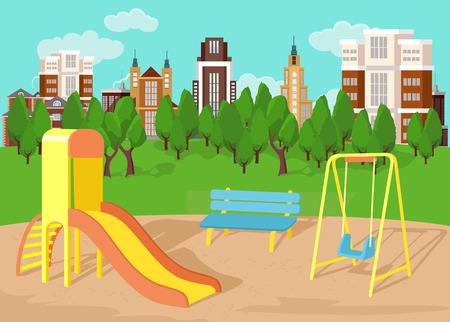 escuela infantil: Parque infantil. Vector ilustración plana Vectores