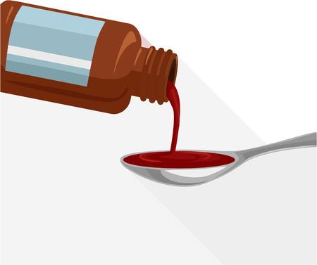 remedy: Liquid medicine. Vector flat illustration Illustration