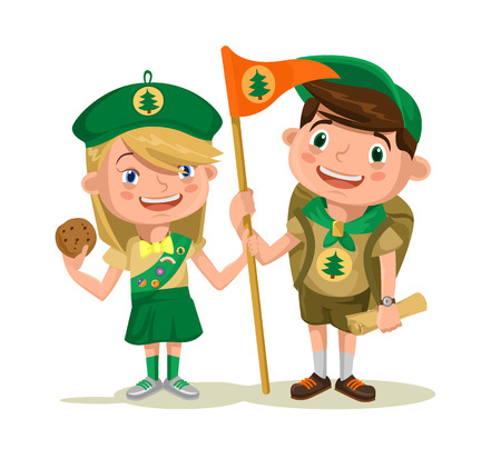 Children scouts. Vector flat illustration