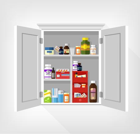 bottle of medicine: Cupboard with medicines. Vector flat illustration