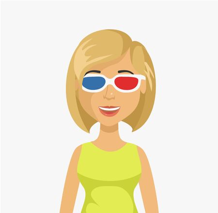 holiday blockbuster: Woman in 3D glasses. Vector flat illustration