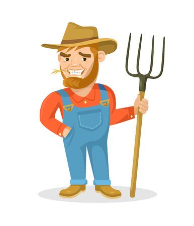 coverall: Funny farmer vector flat illustration