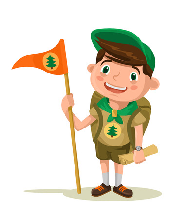 scout: Boy scout. Vector flat illustration Illustration