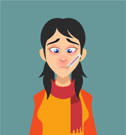 sad cartoon: Sick woman with thermometer in his mouth. Vector flat illustration