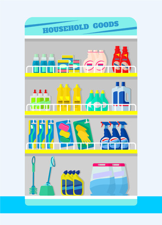 disinfect: Counter with detergents. Vector flat illustration Illustration