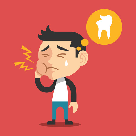 Toothache vector flat cartoon illustration Çizim