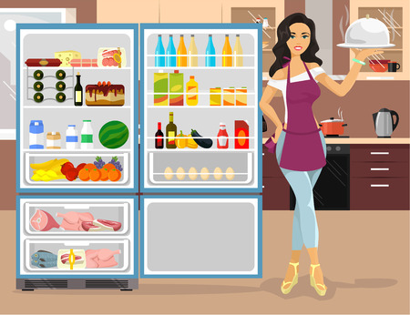 of food: Kitchen and a housewife. Vector flat illustration Illustration