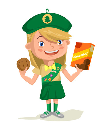 Girl scout. Vector flat cartoon illustration