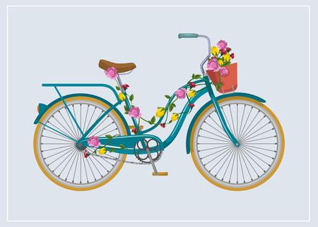 Сбор винограда: Велосипед с цветами. Вектор иллюстрация плоским Иллюстрация