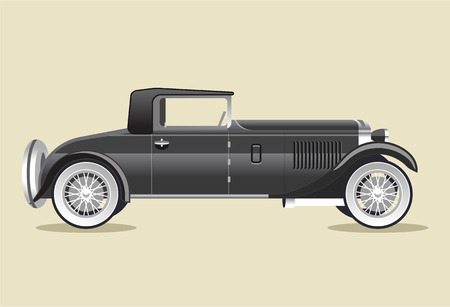 old car: Retro old black car. Vector flat illustration