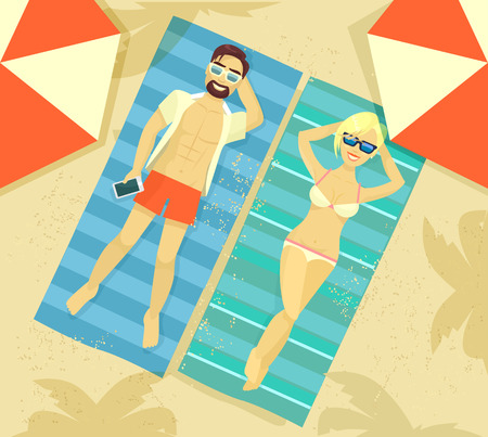 sunbathe: Man and woman sunbathing. Vector flat illustration