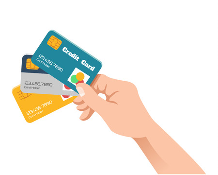 debit cards: Hand holding credit card. Vector flat illustration
