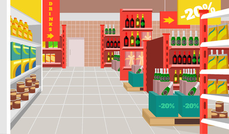 shop interior: Vector supermarket flat illustration