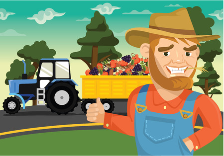agronomics: Vector farm flat illustration Illustration