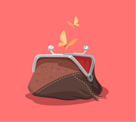 Empty purse. Vector flat cartoon illustration