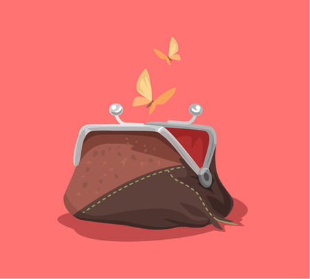 Empty purse. Vector flat cartoon illustration