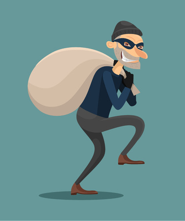 housebreaking: Thief vector flat illustration