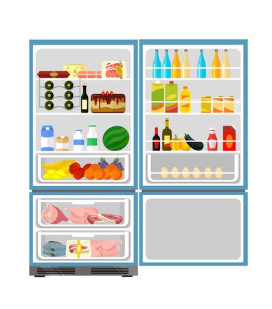 nevera: Nevera llena de comida. Vector ilustración plana