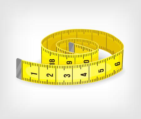 páska: Žlutý svinovací metr v palcích. Vektorové ilustrace