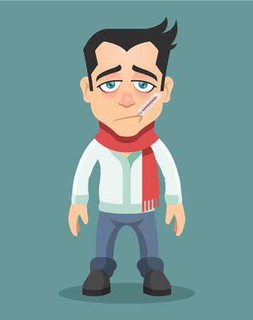 enfermo: Hombre enfermo con el termómetro en la boca. Vector ilustración plana