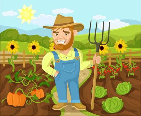 landscape gardener: Vector farm flat cartoon illustration Illustration