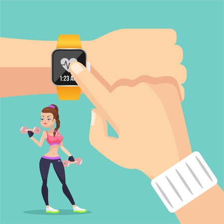 vector girl: Sports watch. Vector flat illustration