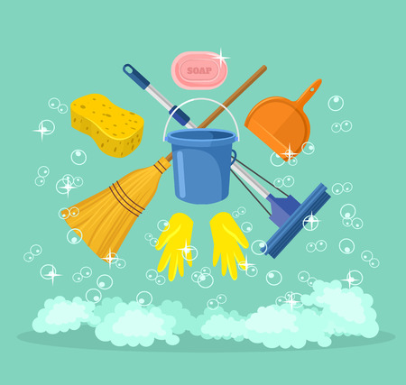 personal de limpieza: Vector ilustraci�n de dibujos animados de limpieza plana