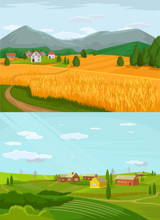 cow vector: Vector village flat illustration set