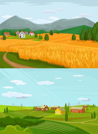 Village Vector illustration plat ensemble Banque d'images - 42793024