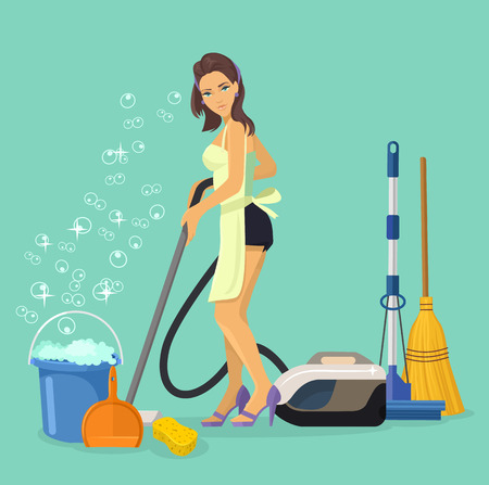 Vector housewife flat cartoon illustration
