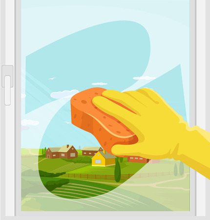 Window cleaning. Vector flat illustration