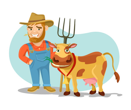 holstein: Vector cow and farmer flat cartoon illustration Illustration