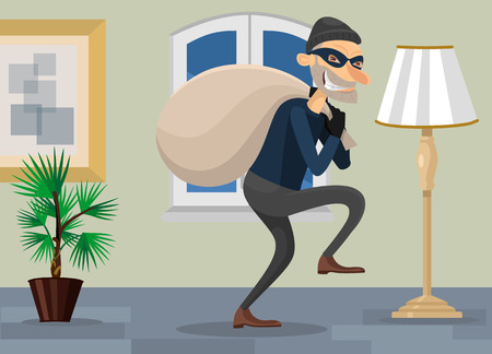 burgle: Thief in room vector flat illustration