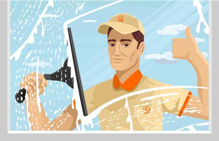 machine à laver: L'homme le nettoyage des vitres. Vector illustration plat