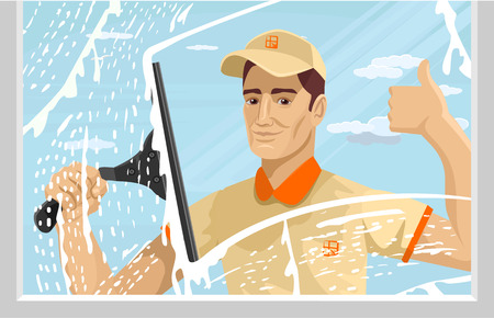 clean off: Man cleaning window. Vector flat illustration