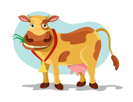 grazing: Cow vector flat cartoon illustration